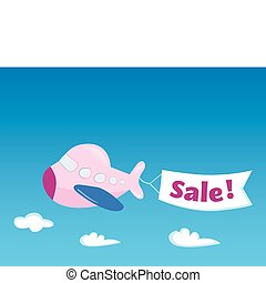 Flight sale! - Flying Airplane with promotional banner....