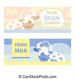 Fresh farm products. Happy cow on meadow. Editable banner. Rustic natural products. Agricultural.Cow.