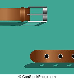 Brown leather belt on green background