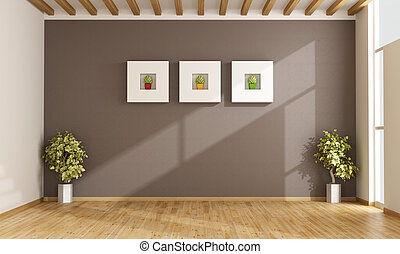Empty living room with brown wall