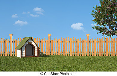 Kennel on grass in the garden - Dog's house on grass in the...