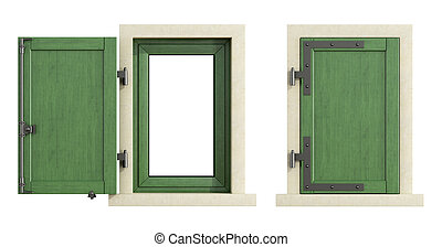 Wooden windows with close and open shutter
