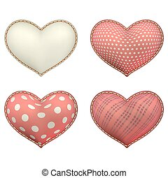 Heart-shaped soft toy set isolated EPS 10 - Red heart-shaped...