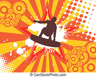 wakeboarder in action - vector illustration of a wakeboarder...