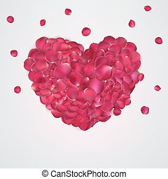 Heart of red rose petals. EPS 10