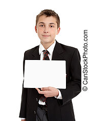 School student with sign