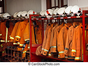 Firefighting Equipment Arranged on Racks at the Fire Station...