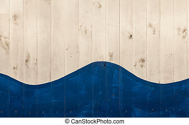 white wooden boards painted with blue and form a wave shape...