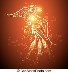 Rising phoenix - Illustration of rising Phoenix against red...