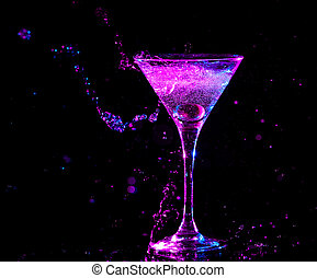 colourful cocktail on the black background. Party club...