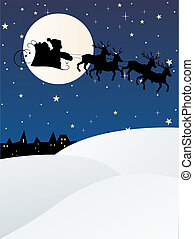 santa claus with sleight - vector illustration of a...