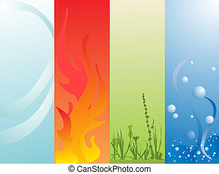 four elements - vector illustration of air, fire, land and...