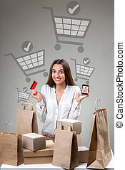 Online shopping concept - Woman shopping online with smart...