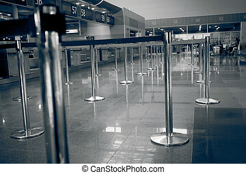 Toned photo of check-in line at airport - Black and white...