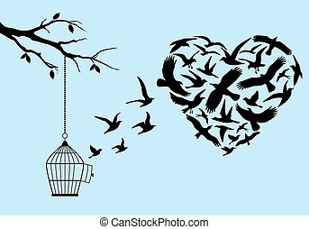 flying birds heart, vector - flying birds in heart shape...