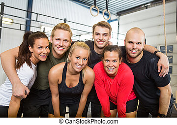 Happy People Standing Together At Cross Training Box - Group...