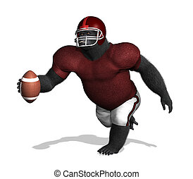 Gorilla Football Player without numbers - A gorilla wearing...