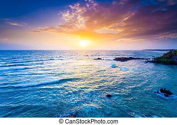ocean on sunset - Indian ocean on sunset. Sri Lanka, Galle...