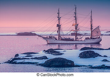 sailing ship in Antarctica