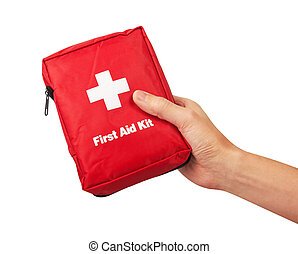 First Aid Kit in hand, Isolated on white background