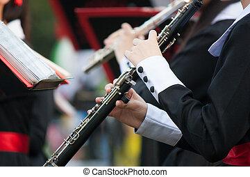 mulher, mãos, tocando, Um, clarinete,