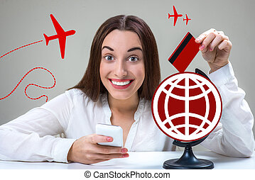 Roaming concept - Young and smiling woman typing message...