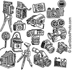 Camera doodle sketch icons set - Photo and movie vintage...