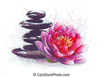 lotus and stones - Spa still life with water lily and zen...