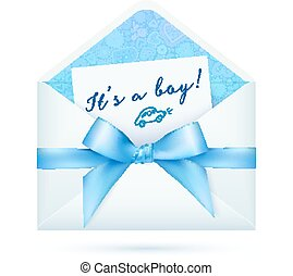 Blue baby shower vector envelop with bow - Blue baby boy...
