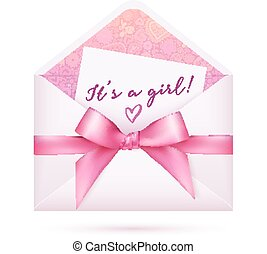 Pink baby shower vector envelop with bow - Pink baby girl...