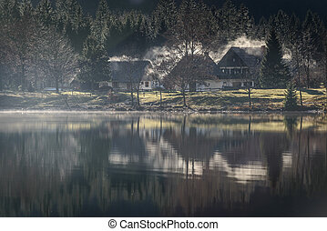 Bohinj Lake - Beautiful landscape with winter sunrise at...