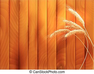 Wheat spikes on wooden board. EPS 10