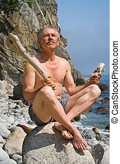 Man with cudgel and skull 2