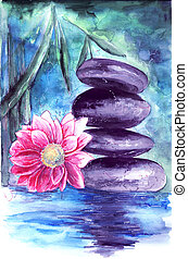 lotus and stones in water - Spa still life with water lily...