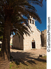 old orthodox basilica and bid palm tree growing - Beautiful...