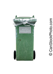 Green garbage bin isolated on white background