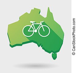 Green Australia map shape icon with a bicycle - Illustration...