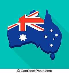 Australia map with the national flag