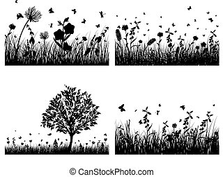 meadow silhouettes - Vector grass silhouettes background All...