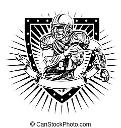 american football shield - american football player vector...