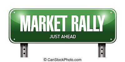 market rally street sign illustration design over a white...