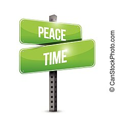 peace time street sign illustration