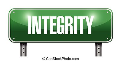 integrity street sign illustration design over a white...