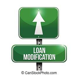 loan modification street sign illustration design over a...