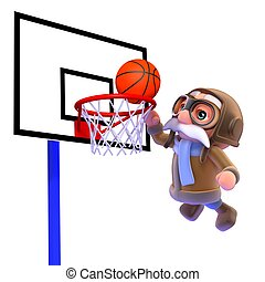 3d Pilot plays basketball - 3d render of a pilot playing...
