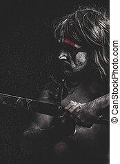 Medieval warrior fighting, medieval soldier with huge steel...