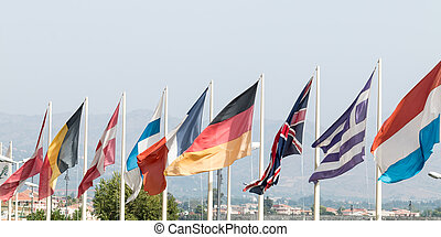 European flags - Group of flags representing the main...