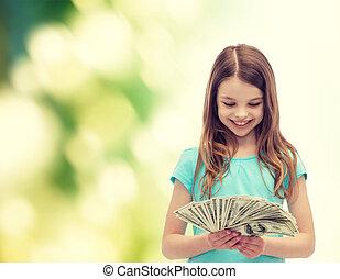 sorrindo, pequeno, menina, olhar, em, dólar,...