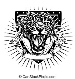 jaguar shield - jaguar vector illustration on shield