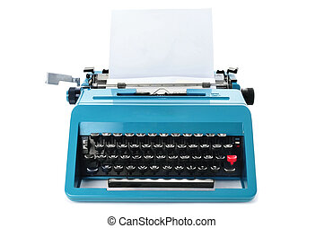 retro typewriter - a retro blue typewriter with a blank...